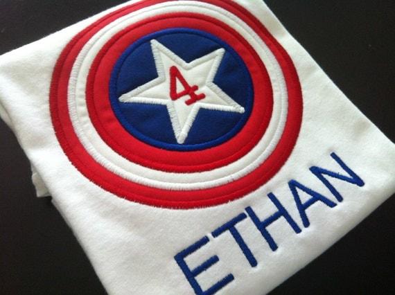 Hero Applique  - Captain America Birthday Shirt