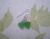Emerald Green Sea Glass Earrings - Keep It Simple