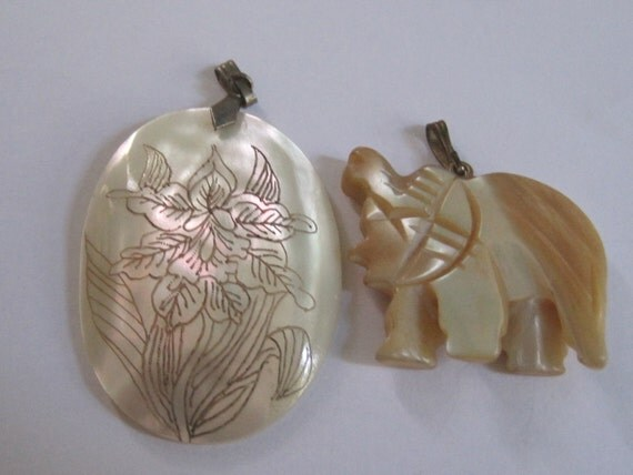 Vintage Carved Mother of Pearl Elephant and Orchid Pendant destash repurpose costume jewelry