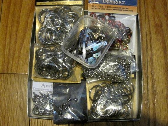 Jewelry Craft Findings Lot Key Rings Barettes Metal Beads Toggle Clasps destash repurpose craft supplies