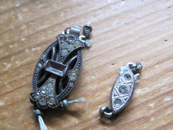TWO Vintage Art Deco Sterling Necklace Clasps destash repurpose repair upcycle jewelry supply