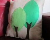 Decorative Pillow. 2 green trees on linen