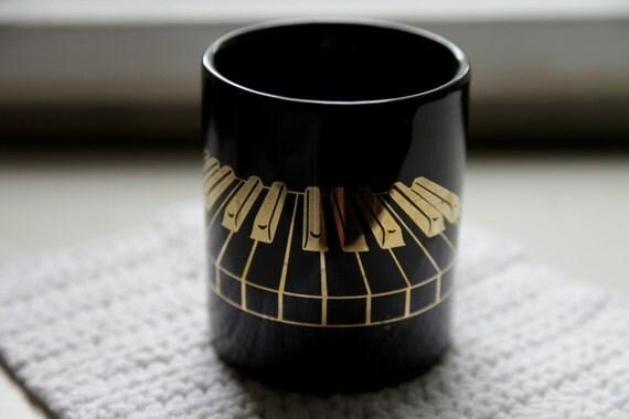 Vintage Piano Keys/ Music Keyboard Mug/ Black and 14K Gold/ Tea Cup or Mug