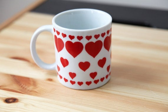 Multi Hearts Ceramic Mug Valentines Day Vintage 1990s