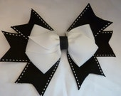 Black and White Hair Bow - 6 inch Boutique Hair Bow With Ribbon Spikes