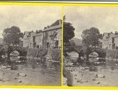 "Stereograph ""Bedgelert - the Prince Llewellyn Inn and Bridge,"" North Wales Illustrated Series, by Francis Bedford, ca. 1867."