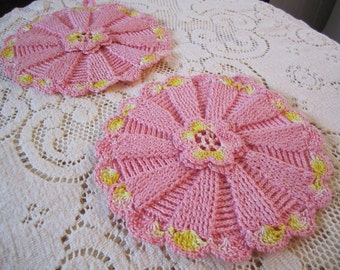 Vintage Pink Crochet pot holders set of 2 crocheted with yellow trim handmade potholders