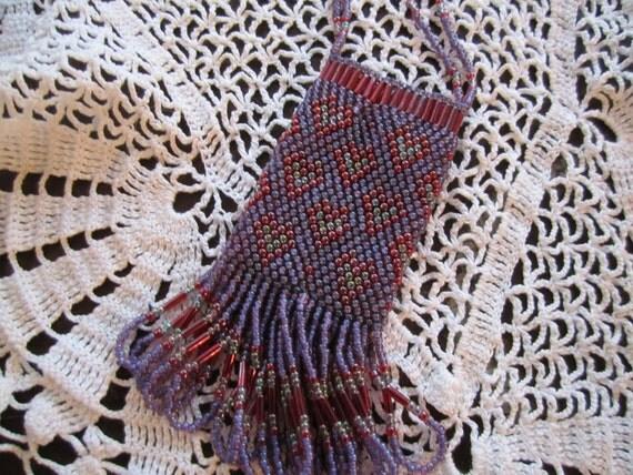 Beaded Treasure Bag Necklace Handmade Beaded Amulet purse Seed bead Amulet Purple Red