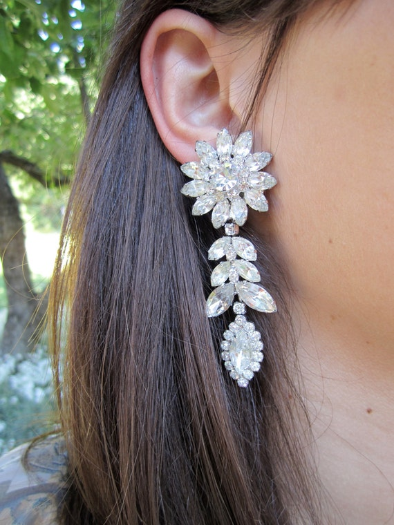 Reserved Weiss Rhinestone Chandelier Showstopper Earrings Reserved For Ivy