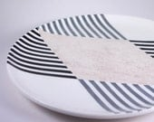 "Hand-painted Diamond Striped 12"" Serving Plate"