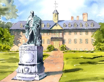 Wren Building with Statue of Governor Botetourt, College of William and Mary 11x14 (Mat Size)Print