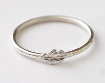 Leaf Ring, Stackable Sterling Silver Oak Leaf Ring, Oak Leaf Ring Silver, Leaf Ring Silver, Oak Leaf Ring, Stack Ring, Leaf Stack Ring