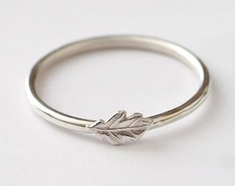 Leaf Ring, Stackable Sterling Silver Oak Leaf Ring, Oak Leaf Ring Silver, Leaf Ring Silver, Oak Leaf Ring, Stack Ring, Leaf Stack Ring