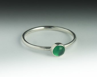 Green Agate Ring, Stackable Sterling Silver Green Agate Ring, Agate Ring Silver, Green Agate Stack Ring, Agate Jewelry, Agate Ring Silver