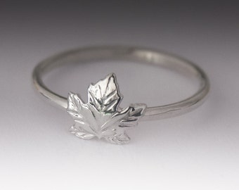 Maple Leaf Ring - Stackable Sterling Silver Maple Leaf Ring