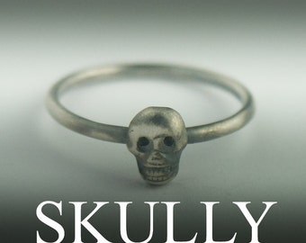 SKULLY, Silver Skull Ring, Skull Sterling Silver Ring, Skull Ring Silver, Skull Ring Women, Skull Jewelry Silver, Baby Skull Ring