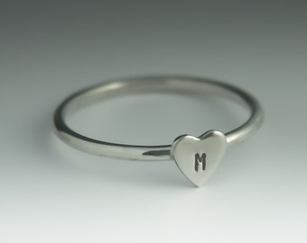 Initial Heart Ring, Personalized Heart Ring, ONE Sterling Silver Heart Ring with your choice of Initial, Stack Ring, Heart Ring Silver