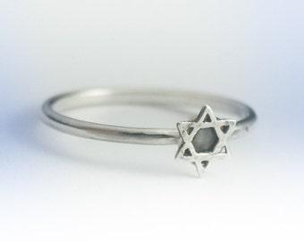 Star of David Ring, Star of David Stackable Ring, Sterling Silver Shield of David Ring, Star of David Ring Silver, Star of David Stack Ring