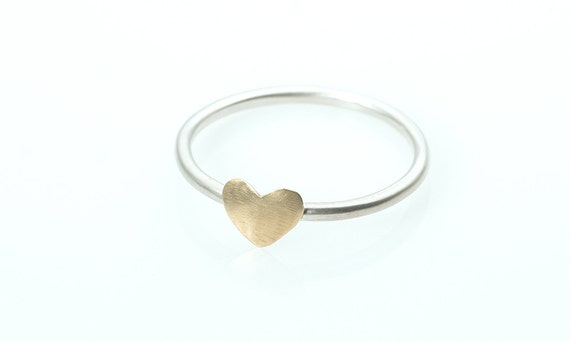Custom For Ada  - Heart Ring - 14K Gold filled Heart on a Sterling Silver Ring