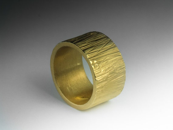 Artisan Gold Ring - Wide Band Gold plated  Brass Ring - will fit a US size 7  ( UK & Australia N 1/2)