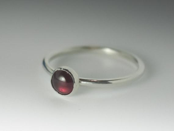 Garnet Ring, Stackable Sterling Silver Garnet Ring - 5mm Garnet, January Birthstone Ring, January Birthstone jewelry, Garnet Stacking Ring