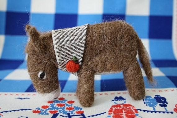 Handmade needle felt donkey-almond brown