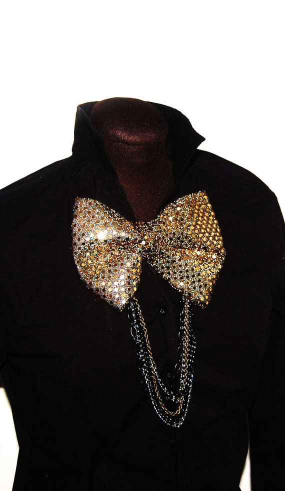 Large Golden Bow Tie