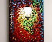 "Old Street Lamp.Original Contemporary Abstract Textured Painting.Art Deco.24"".Cityscape.FREE Shipping to Canada and US- by Nata S."