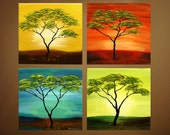 Original Contemporary Art Painting.4 Panels of Savanna's Trees.Art Deco.Red,Yellow,Turquoise...Certificate Of Authenticity -.by Nata S.