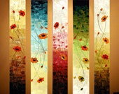 """Original Modern Abstract Large Painting on 5 Canvas.Palette Knife.Oil.Poppies.36"""".Ready to hang -.by Nata S."""