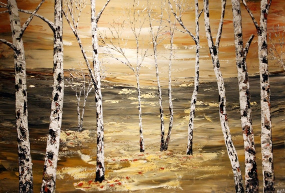 """Original Modern Large Art Painting.Palette Knife.Tree.Landscape.Forest.Birches.Trees.Art Deco.36""""x24"""" Beige,White,Black,Red... - by Nata S."""