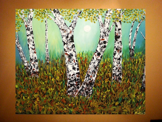 Original Contemporary Heavy Textured Painting.Impasto.Modern.Art Deco,Knife.Oil.Birches.FREE Shipping Canada&US- by Nata S.