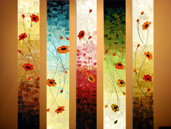 "Original Modern Abstract Large Painting on 5 Canvas.Palette Knife.Oil.Poppies.36"".Ready to hang -.by Nata S."