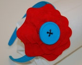 CUSTOM ORDER for FATGNAT: Red Ric Rac Flower with Turquoise Button Center and Wide Turquoise Headband