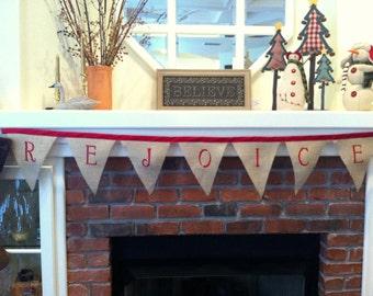 Burlap Christmas Garland Burlap Red REJOICE Rustic Banner Holiday Bunting Fabric