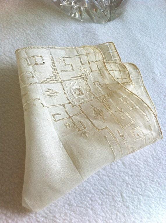 Antique Handkerchief Wedding Valentines Day Estate Piece