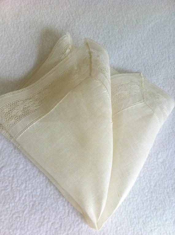 RESERVED for Annie - Vintage Handkerchief  Irish Linen Wedding Original Tag