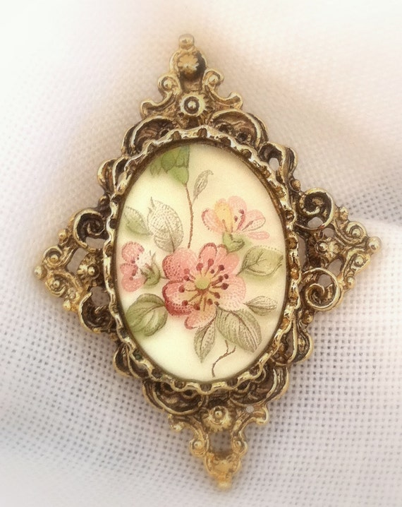 Vintage Brooch, Necklace, Hand painted,   Fashion,  Victorian, Jewelry