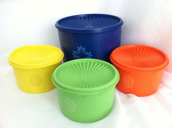 Vintage Tupperware Canisters  Orange Yellow Blue Green