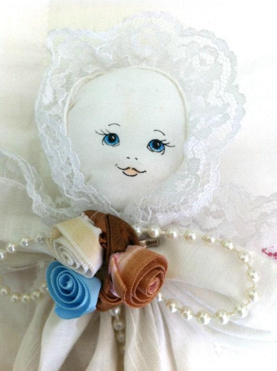 "Vintage Hankie Doll Prayer Doll 16"" 1980s"