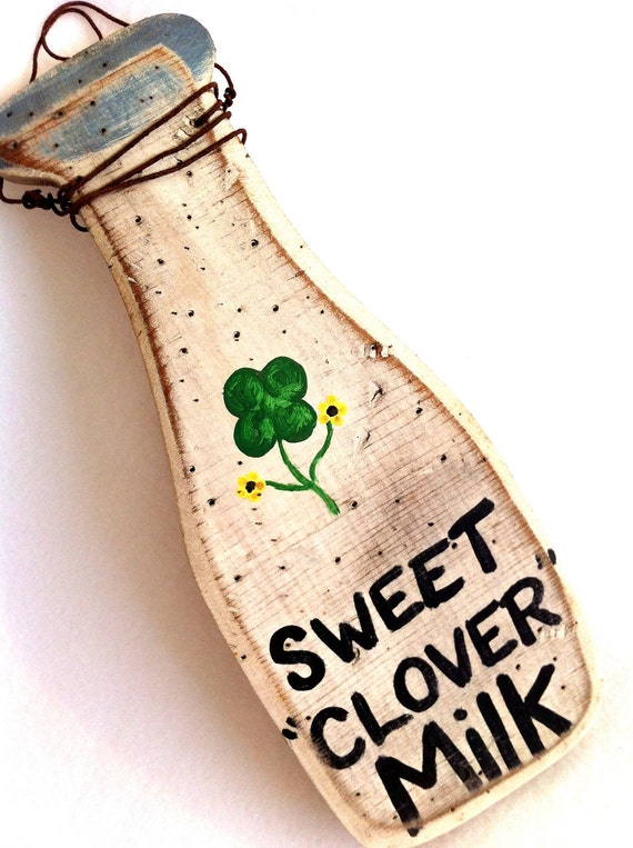 Wooden Sign Milk Bottle, Vintage Rustic, Cottage Chic,  Wall Decor ( 1 )