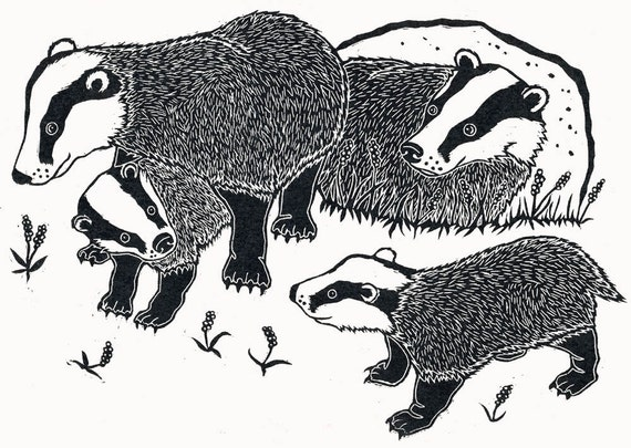 Items Similar To Badgers And Cubs Handmade Linocut