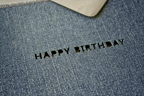 Denim Happy Birthday Card (Stone Wash) - Handmade from Salvaged Jeans