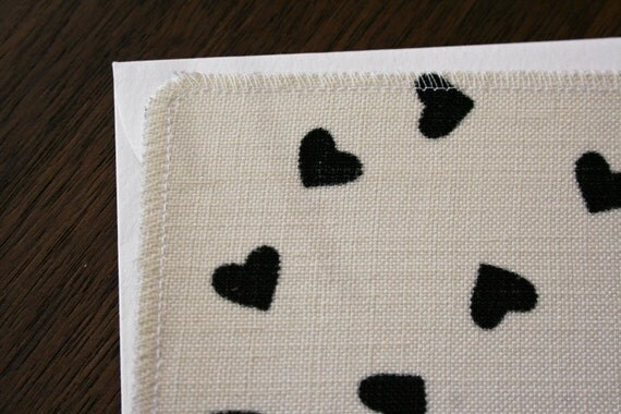 Valentine's Day Card (Black Heart Print ) Handmade greeting card from salvaged fabric