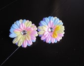 2 Mini Daisy Flower Clips- in rainbow or pink