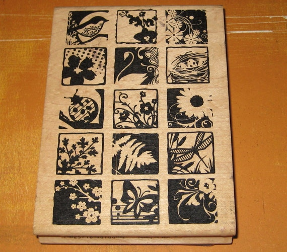 Brand New Wood Mounted Collage Rubber Stamp