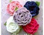 Felt Flower Clip-  Wool Felt Rose Hair Clip for Girls, Teens, Adults- Pink, Purple, White