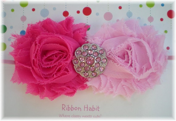 Pretty in Pinks Chic Chiffon Rose Flowers & Rhinestone Button Elastic Headband
