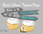 Rustic Wood Arrow Bridal Shower Decoration CupCake Topper or Drink Flag -  Printable Custom DIY Digital PDF File