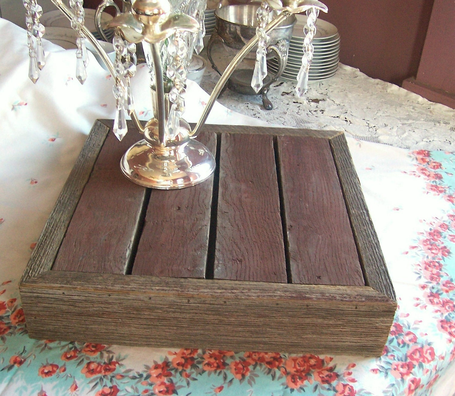 Rustic Wedding Wood Cake Stand: Red Barn Wood Rustic Wedding Cake Stand By